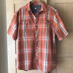 Eddie Bauer Orange & Brown Plaid Quick Dry Shirt L